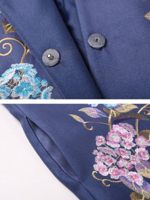 Blue Casual Paneled Shift Floral Coat_5