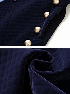 Navy Blue Elegant Stand Collar Velvet Coat_6