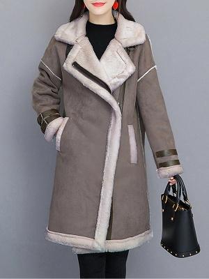Paneled Long Sleeve Shift Fur And Shearling Coats_2