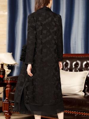 Black Long Sleeve Abstract Casual Coat_3