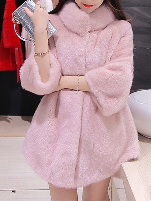 Long Sleeve Solid Shift Fluffy Fur and Shearling Coat_6