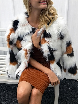 White Fluffy  Color-block Fur and Shearling Coat_1