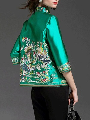 3/4 Sleeve Animal Casual Embroidered Coat_5