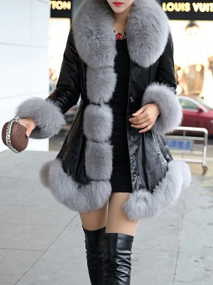 Fluffy Pockets Paneled A-line Fur and Shearling Coat_3