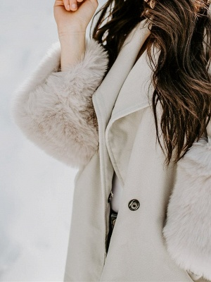 Elegant Wool Fur A-line And Shearling Coat_5