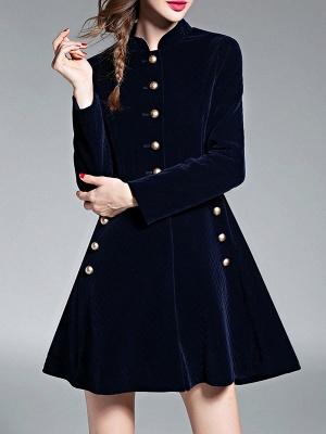 Navy Blue Elegant Stand Collar Velvet Coat_7