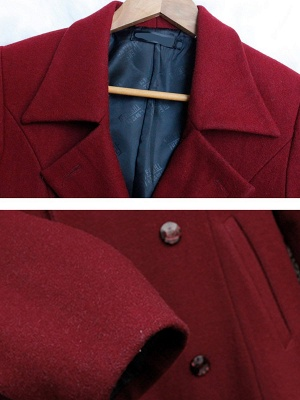 Long Sleeve Casual Lapel Buttoned Solid Coat_6