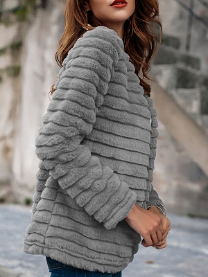 Gray Crew Neck Fluffy  Shift Fur and Shearling Coat_6