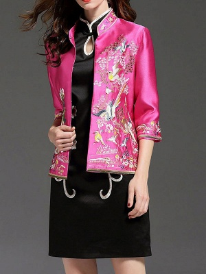 3/4 Sleeve Animal Casual Embroidered Coat_1