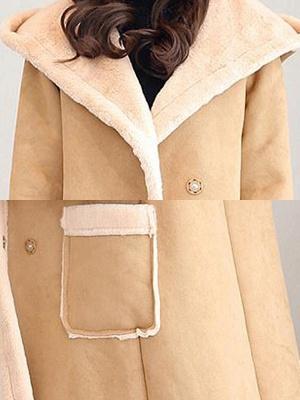 Hoodie Long Sleeve Casual Fur And Shearling Coats_7