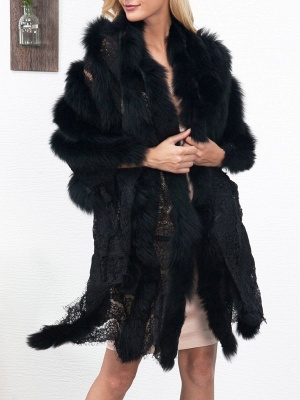 Guipure lace Paneled Fluffy Fur and Shearling Coat_2
