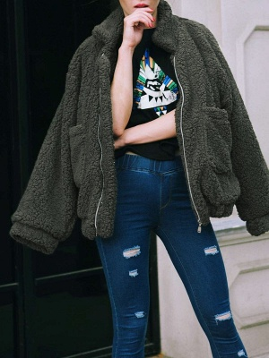Long Sleeve Solid Casual Zipper Fur and Shearling Coat_7