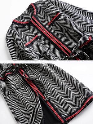 Gray Casual Long Sleeve Paneled Coat_5