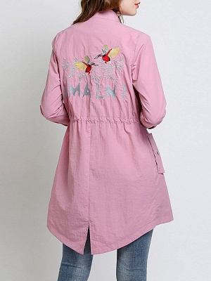 Pink Long Sleeve Stand Collar Coat_3