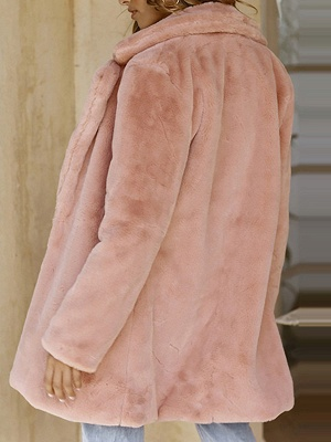 Pink Long Sleeve Casual Fur And Shearling Coats - StyleWe.com_3