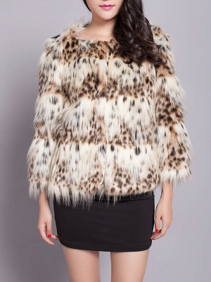 Beige Long Sleeve Shift Fluffy Faux Fur Fur and Shearling Coat_1