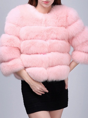 Shift 3/4 Sleeve Fluffy  Fur and Shearling Coat_2