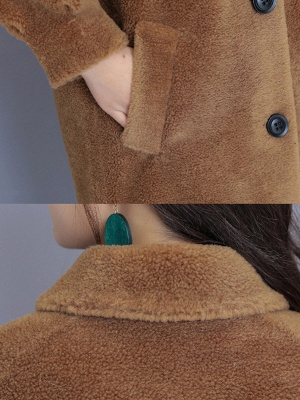 Casual Buttoned Pockets Fur And Shearling Coats_10