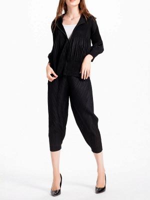 Casual Zipper Long Sleeve Hoodie Pleated Pockets Coat_7