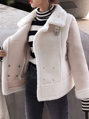 Buttoned Solid Shawl Collar Fur And Shearling Coats_2