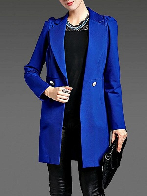 Blue Long Sleeve Buttoned Casual Coat_1