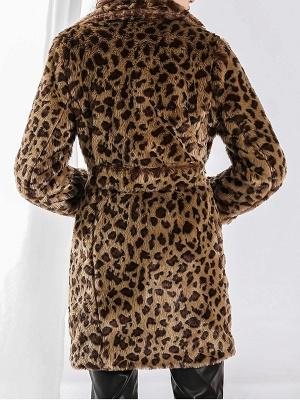 Camel Shawl Collar Shift Casual Long Sleeve Fur and Shearling Coat_3