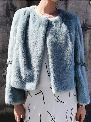 Fluffy Crew Neck Casual Fur And Shearling Coats_2