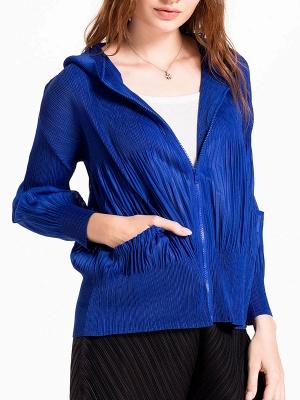 Casual Zipper Long Sleeve Hoodie Pleated Pockets Coat_10