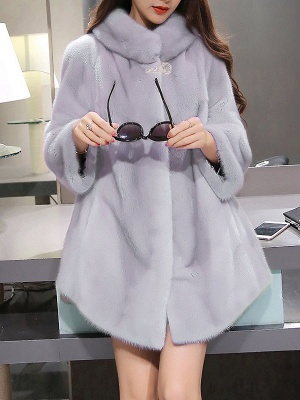 Long Sleeve Solid Shift Fluffy Fur and Shearling Coat_5