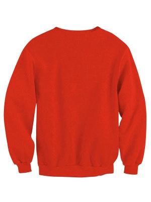 Women's Red Santa Claus Merry Christmas Printed Long Sleeves Casual Sweatshirt_3