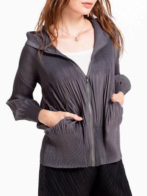 Casual Zipper Long Sleeve Hoodie Pleated Pockets Coat_9