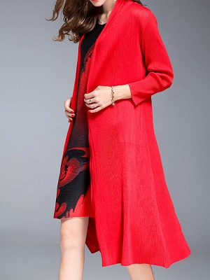 Red Shift Pockets Long Sleeve Coat_4