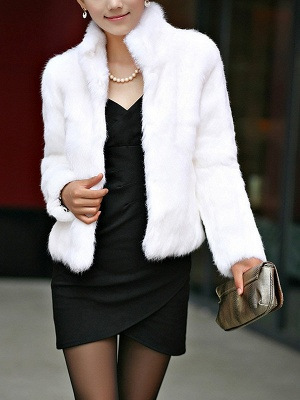 Stand Collar Solid Long Sleeve Fur and Shearling Coat_1