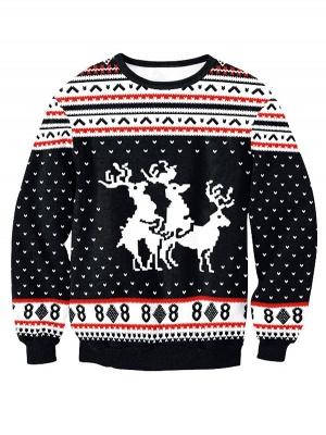 Black Elk Printed Casual Long Sleeves Ugly Christmas Jumpers Sweatshirt for Men/Women_1