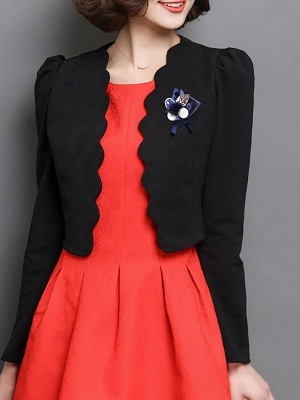 Bow Casual Solid Long Sleeve Flowers Coat_3