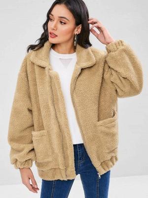 Camel Pockets Zipper Fur and Shearling Coat_1