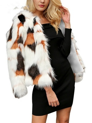 White Fluffy  Color-block Fur and Shearling Coat_5