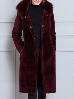 Long Sleeve Pockets Hoodie Shift Casual Fluffy  Coat_1