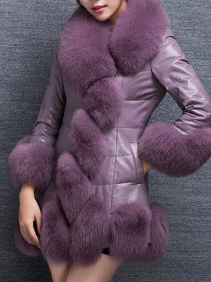 Fluffy Pockets Buttoned A-line Fur and Shearling Coat_3