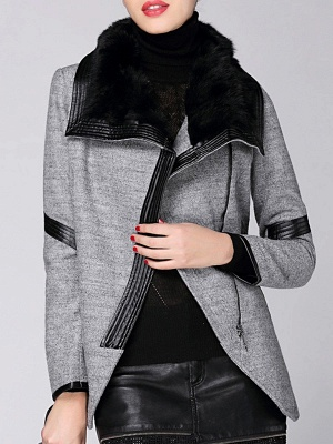 Paneled Long Sleeve Casual Shawl Collar Artificial Leather And Shearling Coat_4