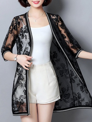 Casual Guipure lace 3/4 Sleeve Solid Summer Coat_2