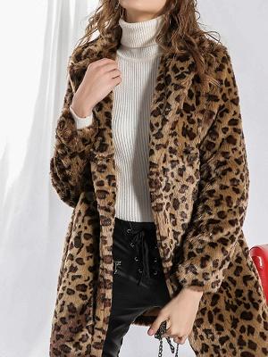 Camel Shawl Collar Shift Casual Long Sleeve Fur and Shearling Coat_4