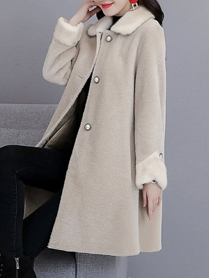 Buttoned Long Sleeve Solid Fur And Shearling Coats_1