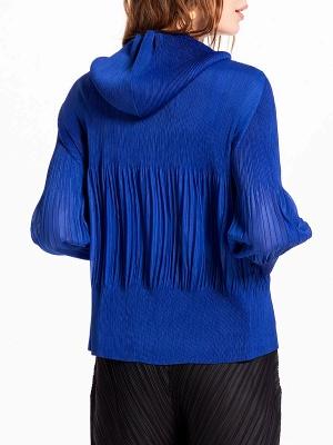 Casual Zipper Long Sleeve Hoodie Pleated Pockets Coat_5