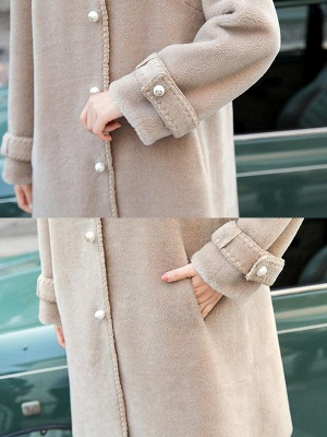 Buttoned Solid Shirt Collar Paneled Fur And Shearling Coats_9