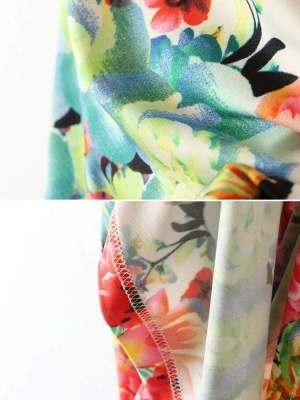 Summer Sleeveless Cyclic Symmetry Printed Mixed Colors Vest Bodycon Dress_4