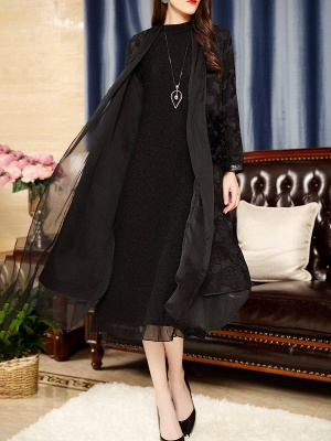 Black Long Sleeve Abstract Casual Coat_4