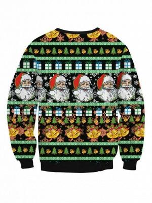 Black Santa Claus Printed Long Sleeves Cute Christmas Sweatshirts for Women_3