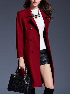 Long Sleeve Casual Lapel Buttoned Solid Coat_8