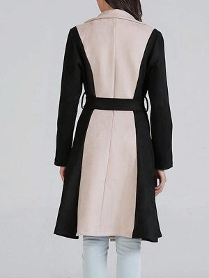 Black Solid Long Sleeve Color-block Coat_3